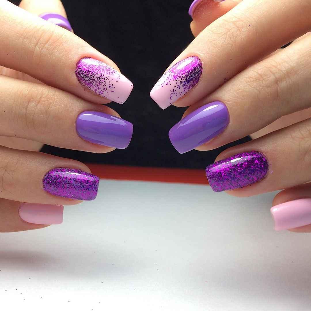 Фиолетовый френч с блестками фото_7