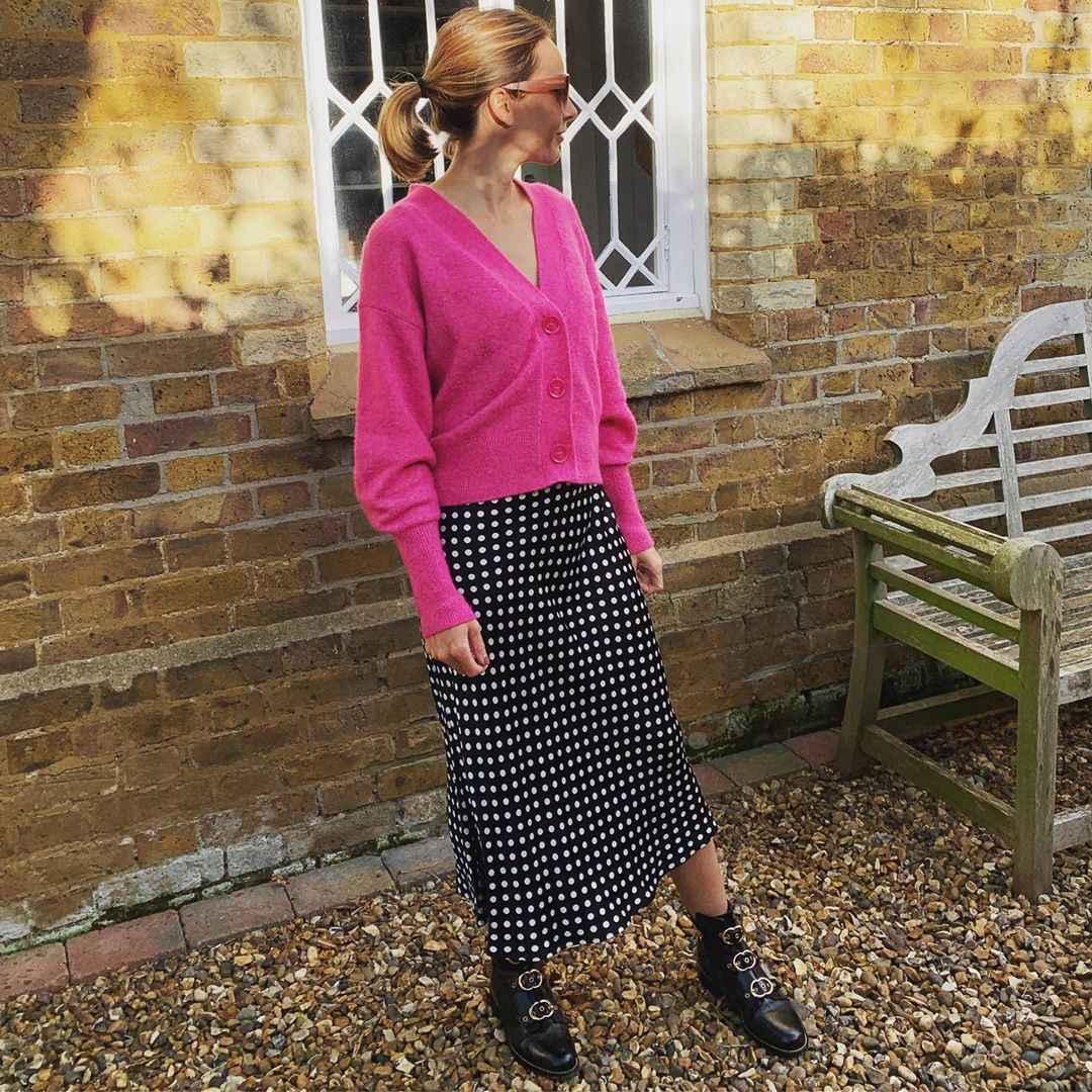 С чем носить розовый кардиган фото_7