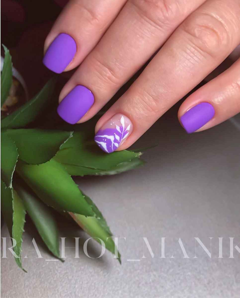 Фиолетовый френч на короткие ногти фото_7