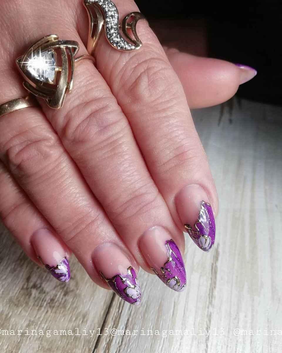 Фиолетовый френч с рисунком фото_5