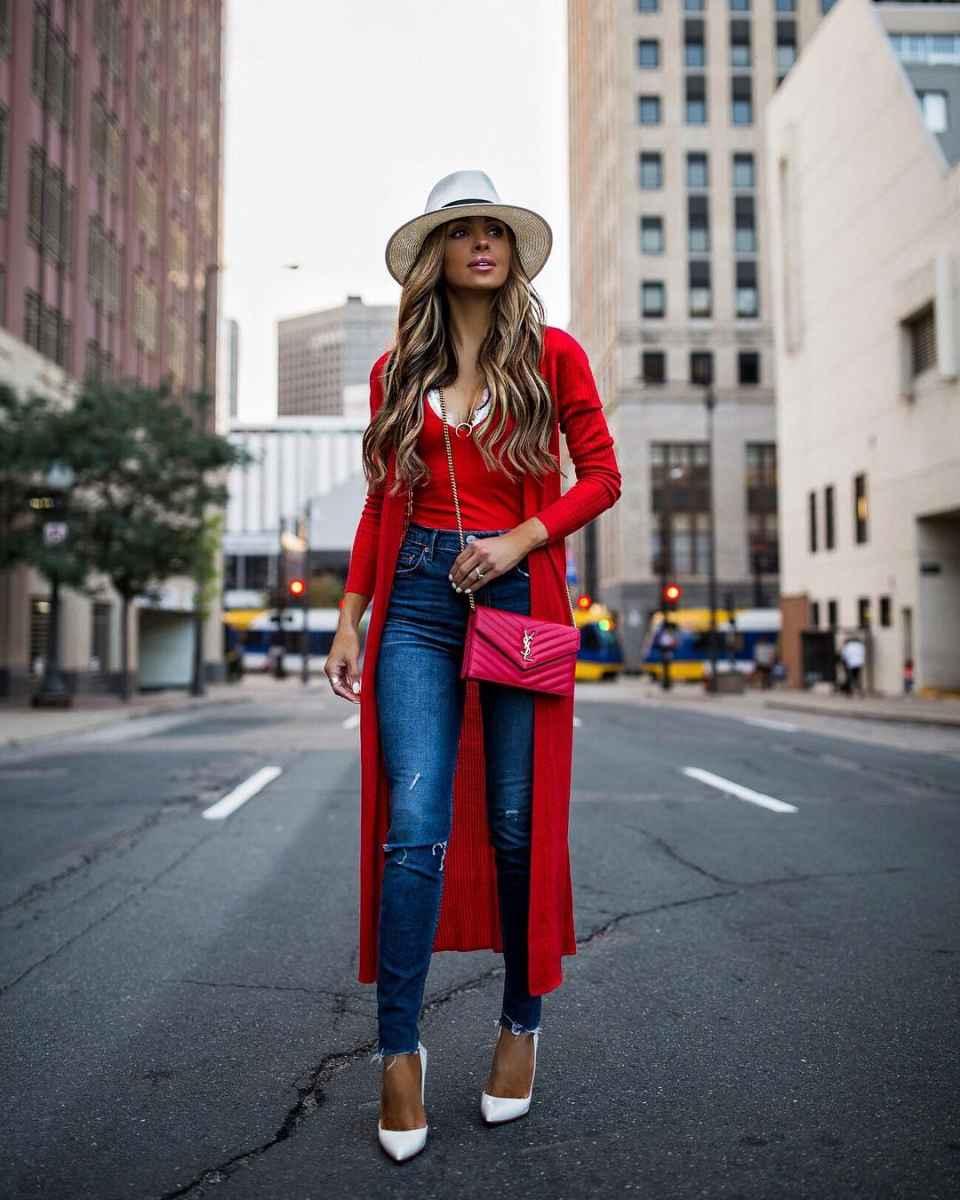 С чем носить красный кардиган фото_4
