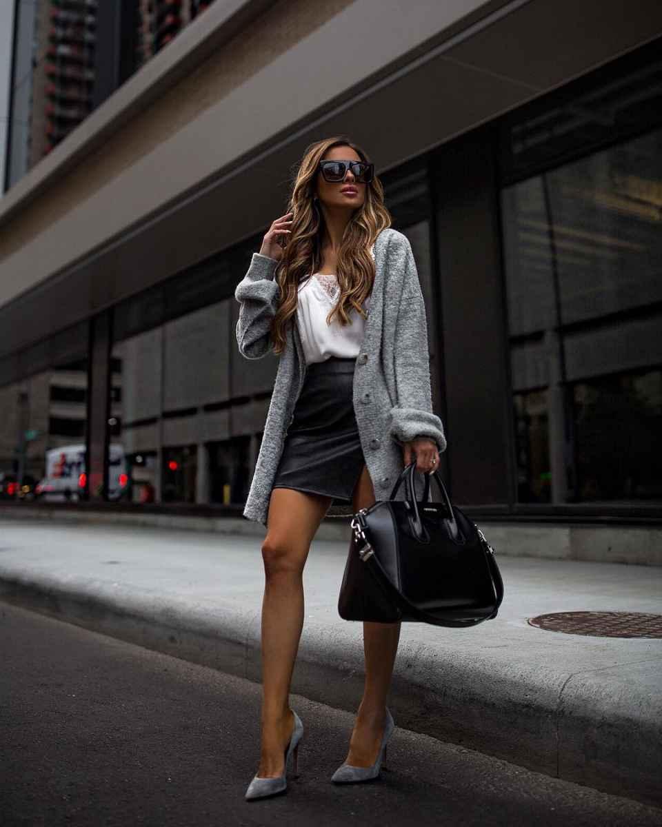С чем носить серый кардиган фото_10