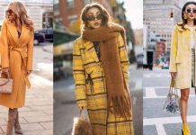 с чем носить желтое пальто фото идеи
