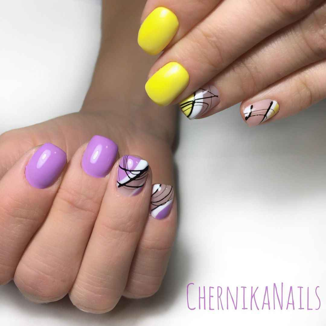 Фиолетовый френч на короткие ногти фото_12