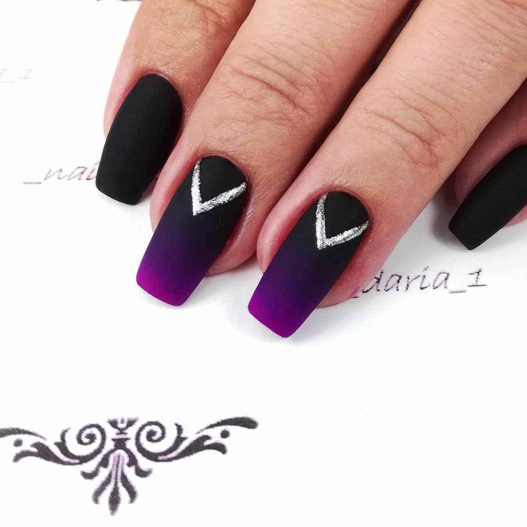 Фиолетовый френч-омбре фото_4