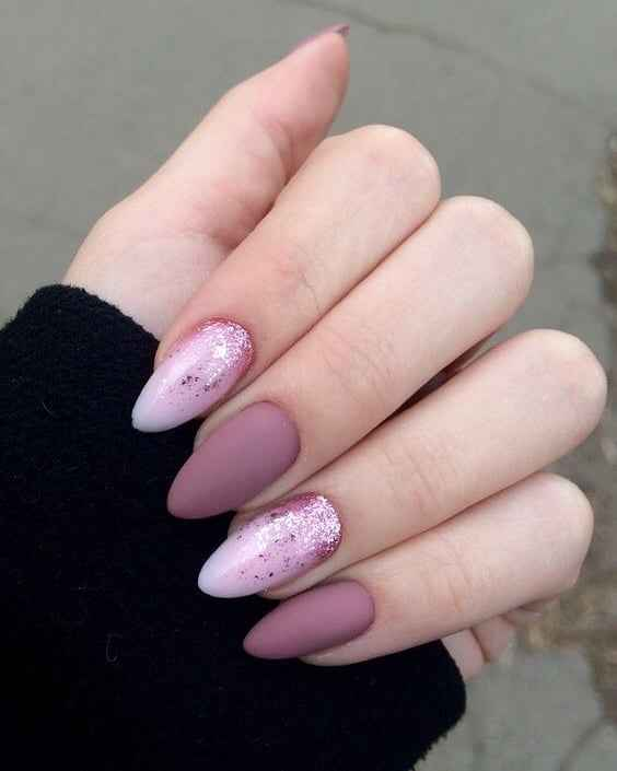 Фиолетовый френч с блестками фото_2