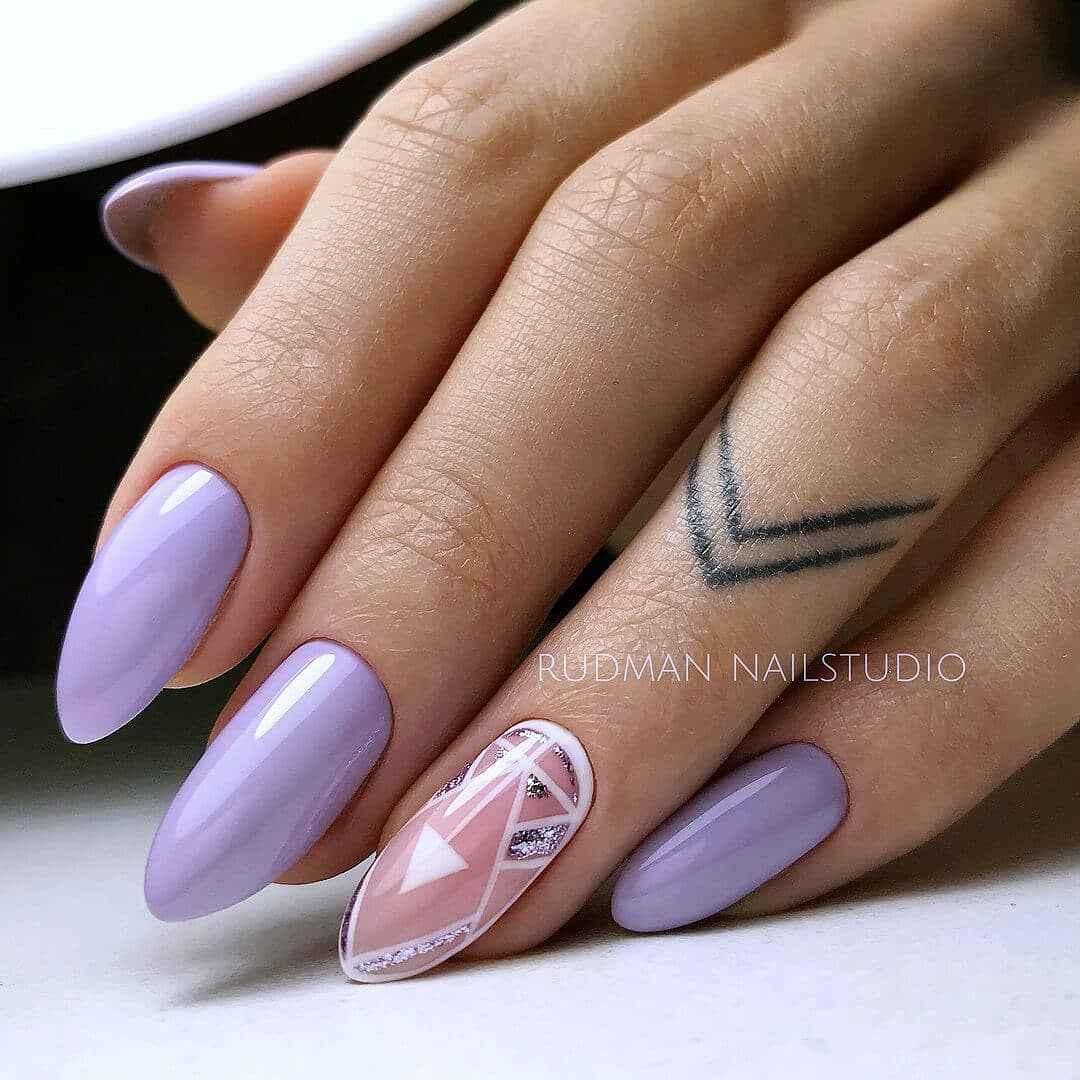 Фиолетовый френч с блестками фото_3