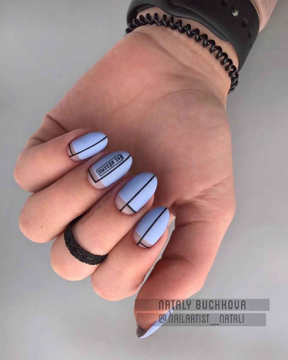 Необычный френч на ногтях фото_46
