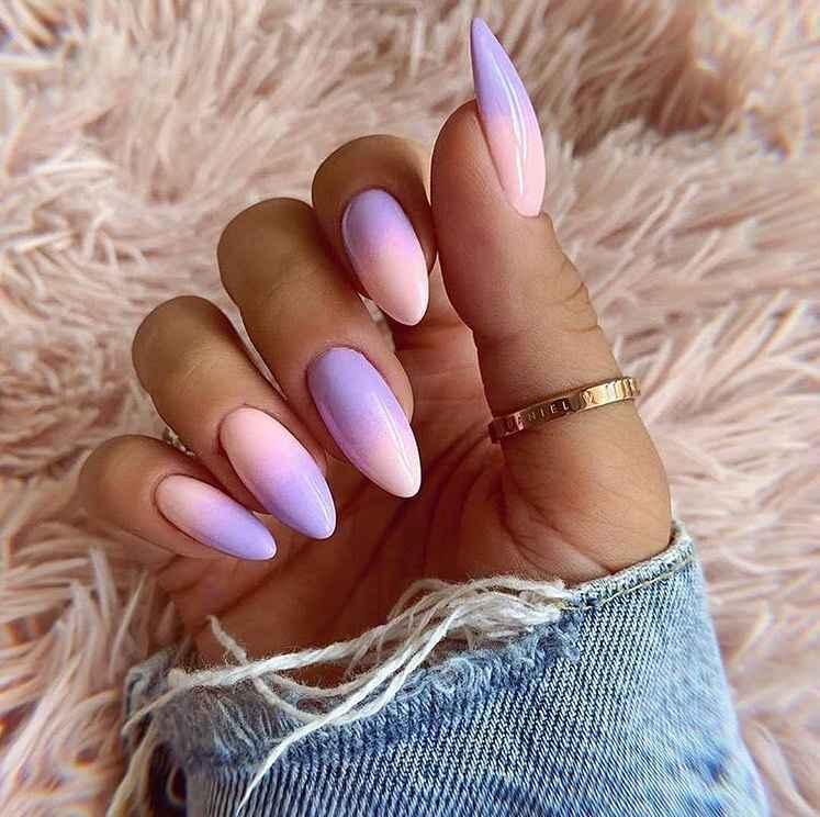 Фиолетовый френч-омбре фото_2