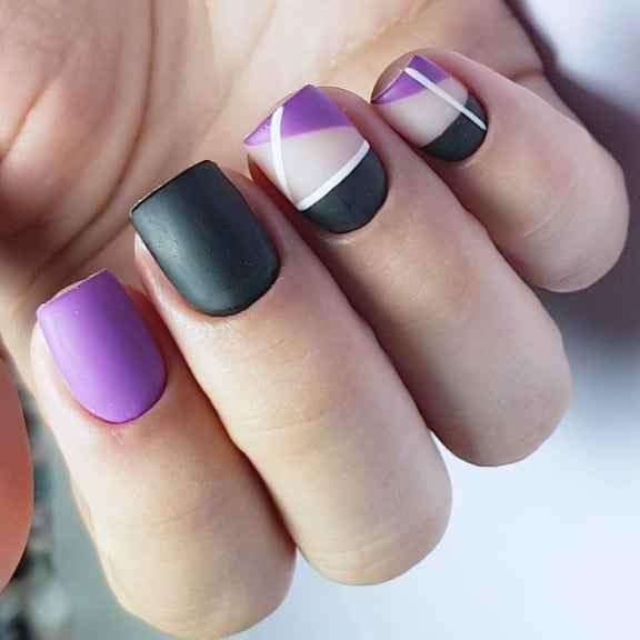 Фиолетовый френч на короткие ногти фото_3
