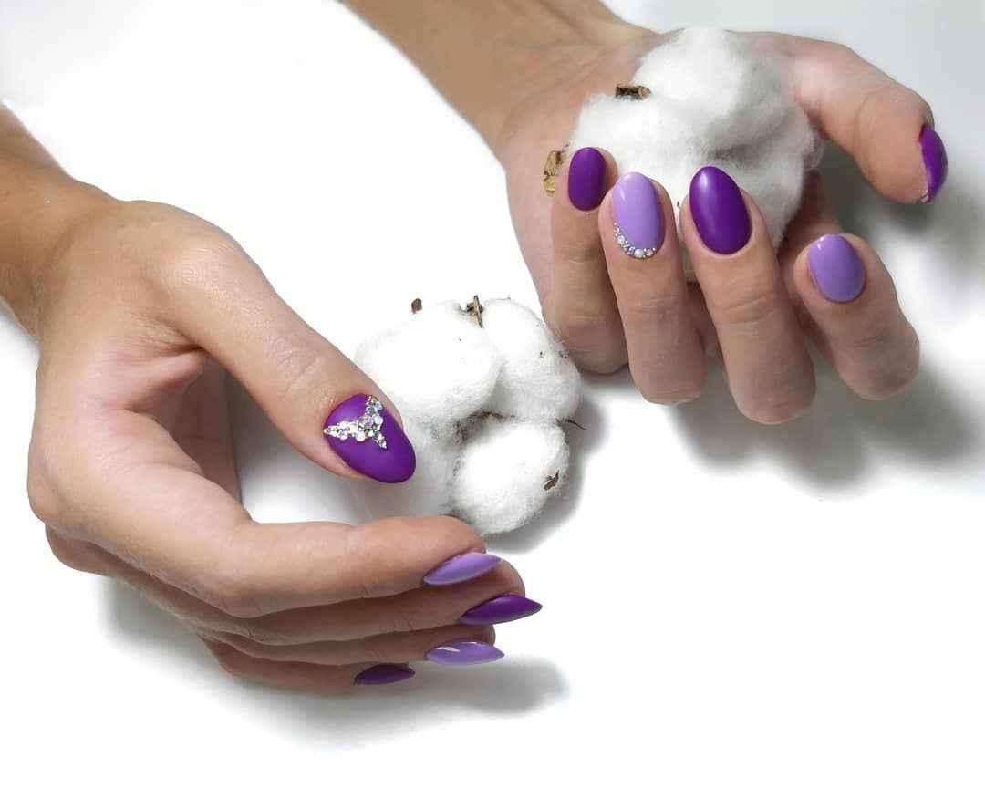 Фиолетовый френч со стразами фото_8