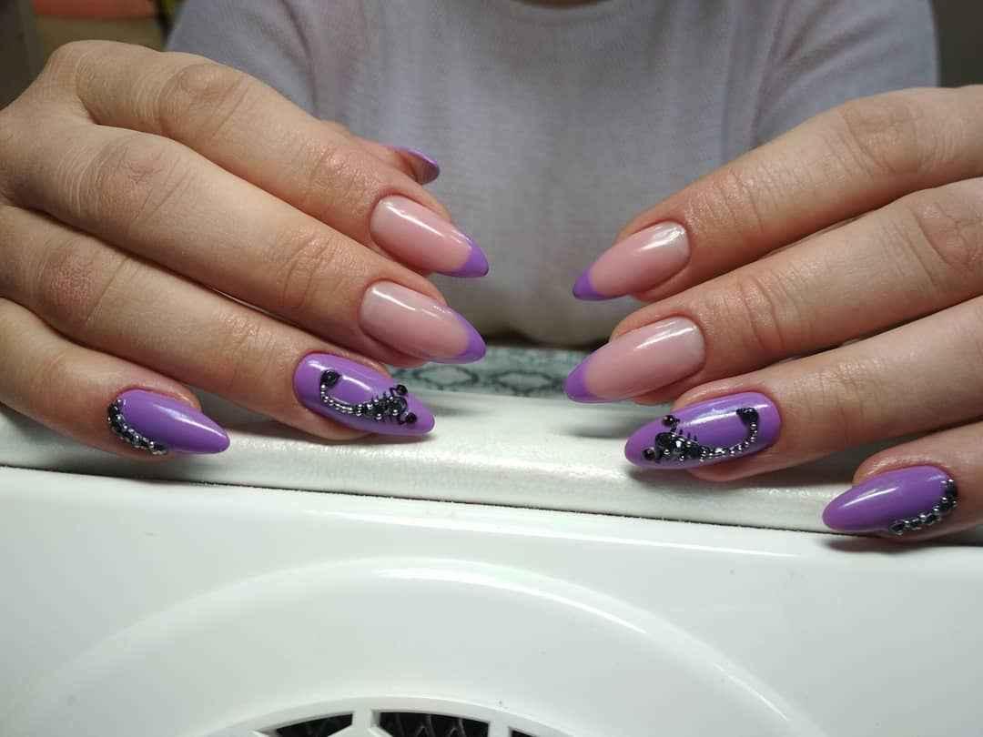 Фиолетовый френч со стразами фото_1
