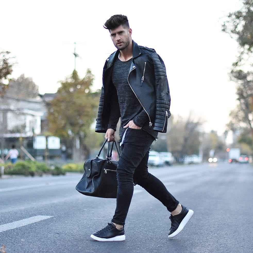 С чем носить кожаную куртку мужчине фото_16