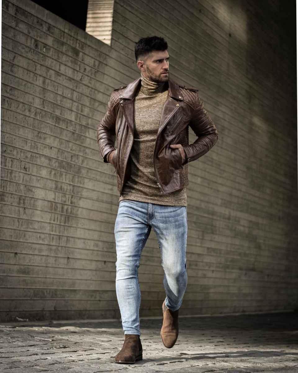 С чем носить кожаную куртку мужчине фото_21