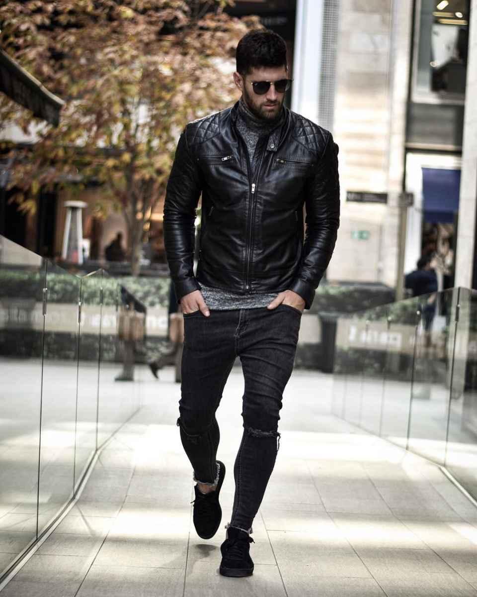 С чем носить кожаную куртку мужчине фото_22