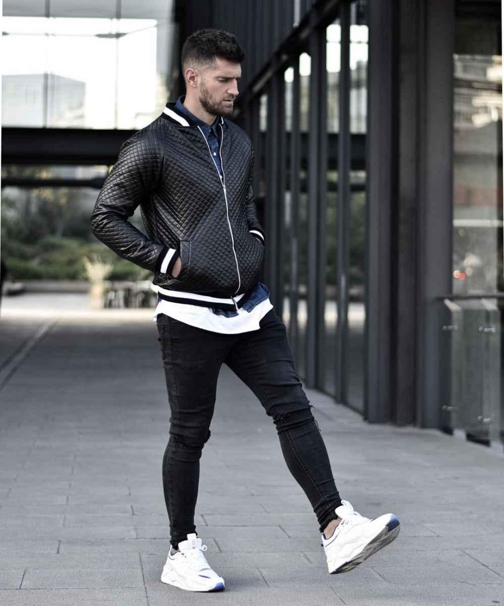 С чем носить кожаную куртку мужчине фото_26