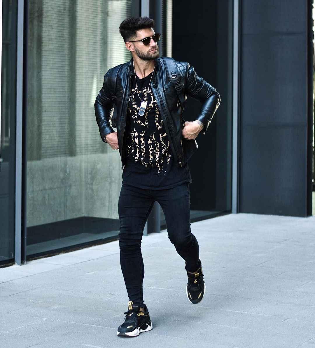 С чем носить кожаную куртку мужчине фото_29
