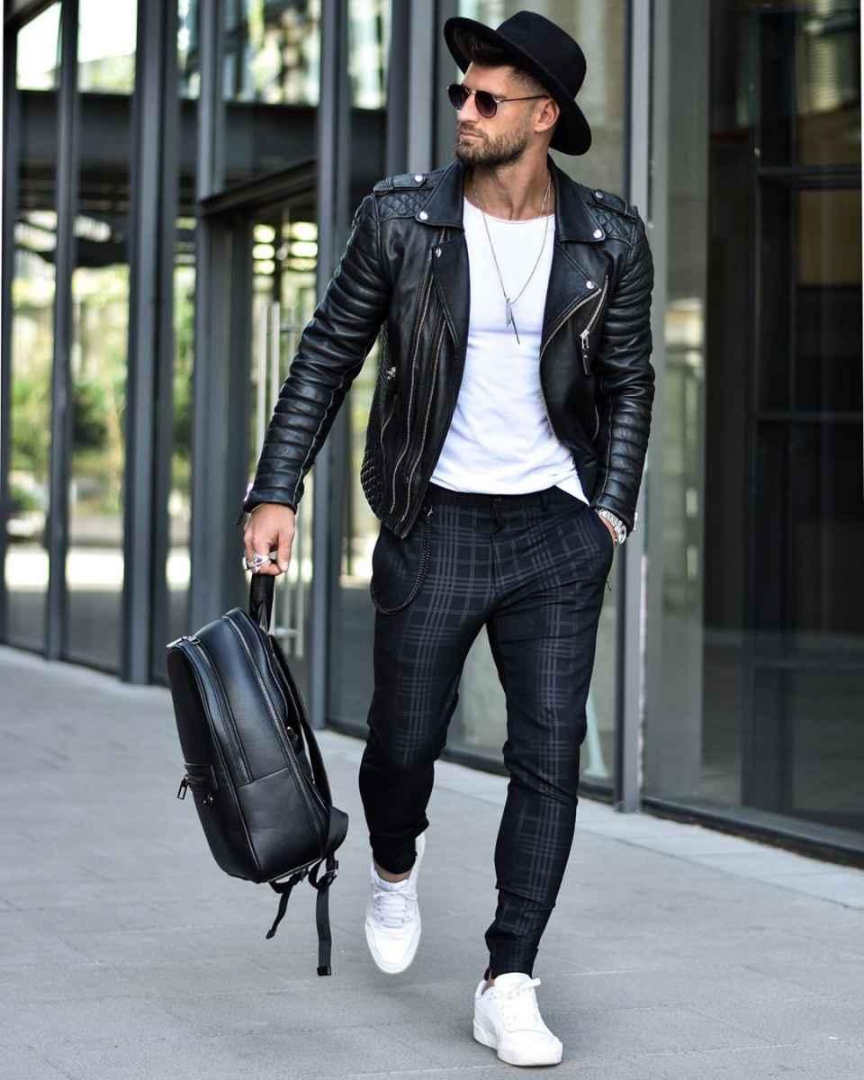 С чем носить кожаную куртку мужчине фото_31