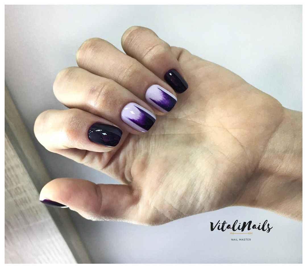 Фиолетовый френч на короткие ногти фото_4