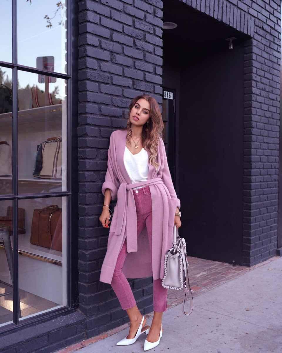 С чем носить розовый кардиган фото_14