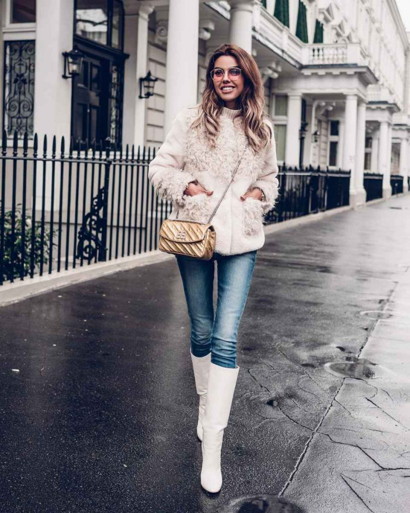 фото джинсовый костюм и белые сапоги достигнуть желаемого
