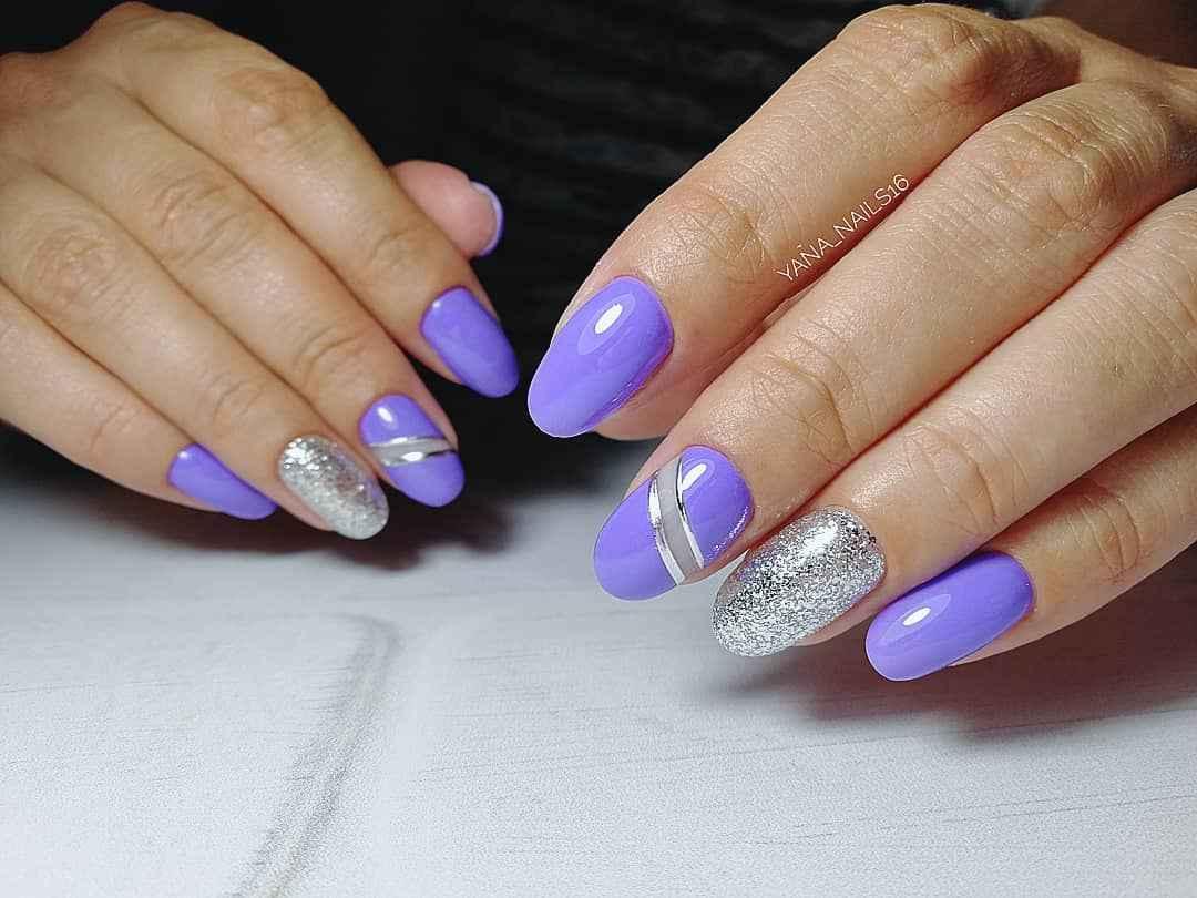 Фиолетовый френч с блестками фото_4