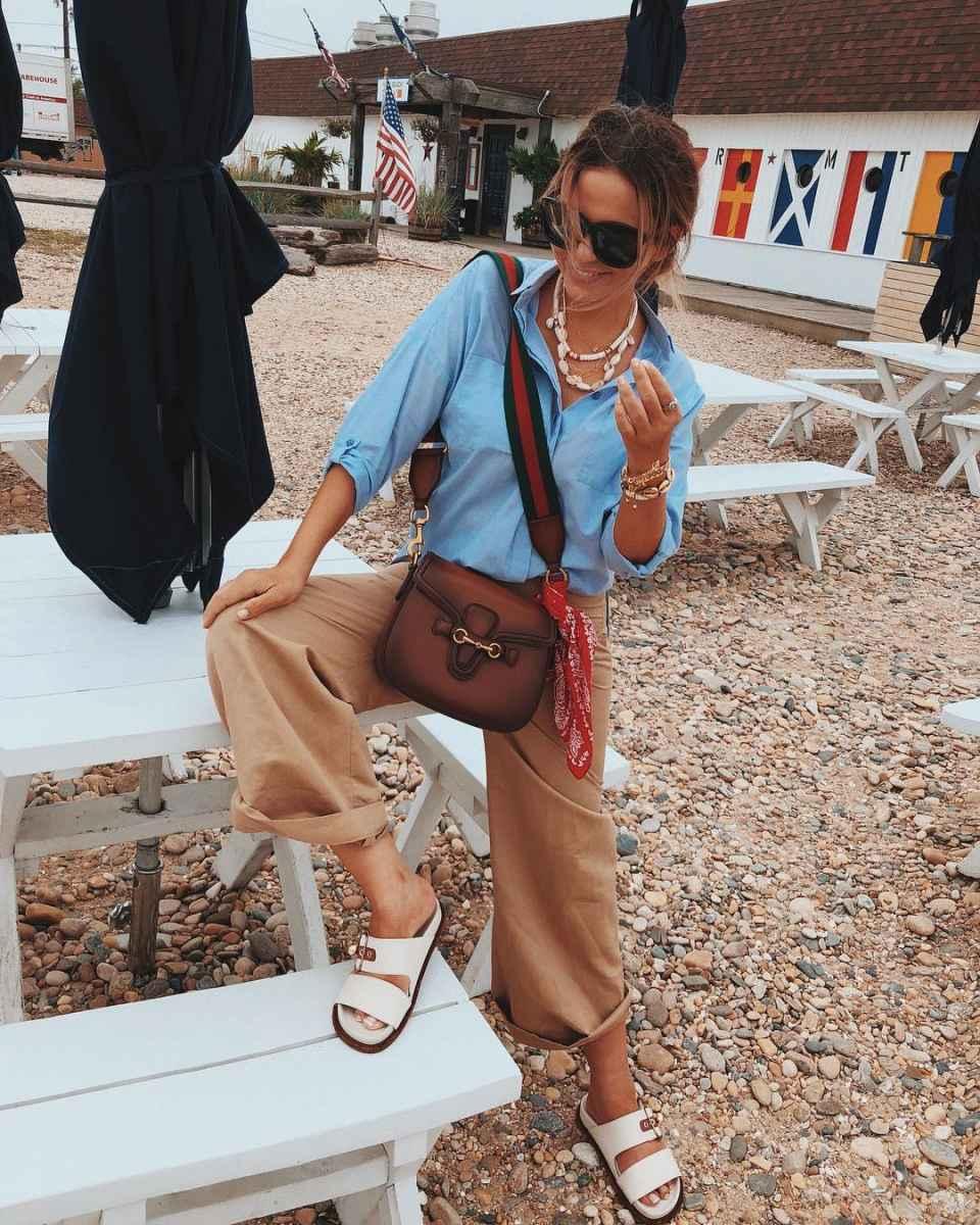 С чем носить коричневую сумку фото_29