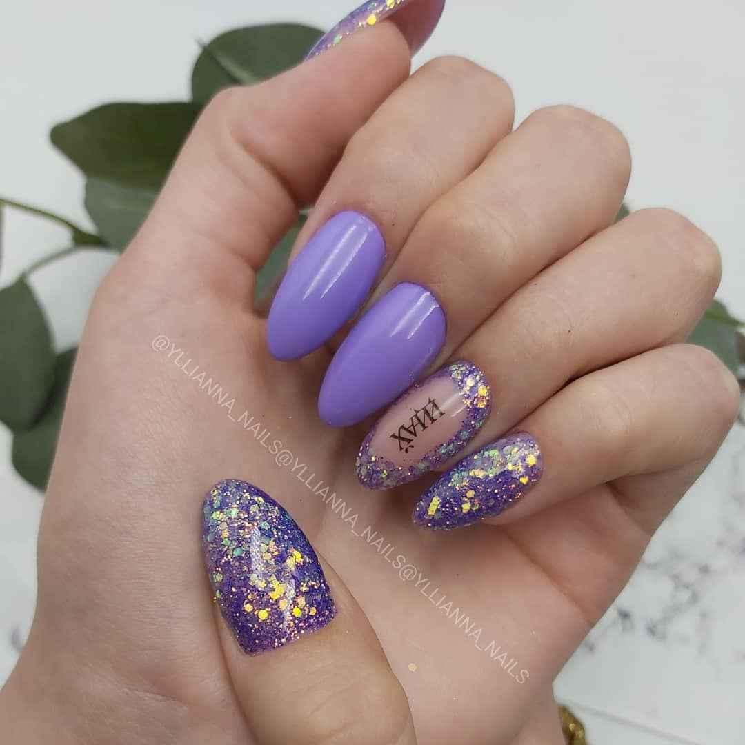 Фиолетовый френч с блестками фото_8