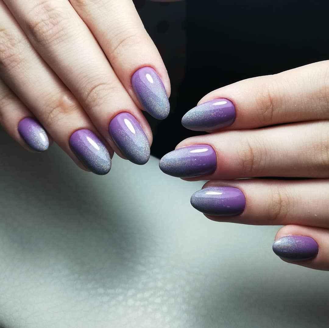 Фиолетовый френч с блестками фото_5