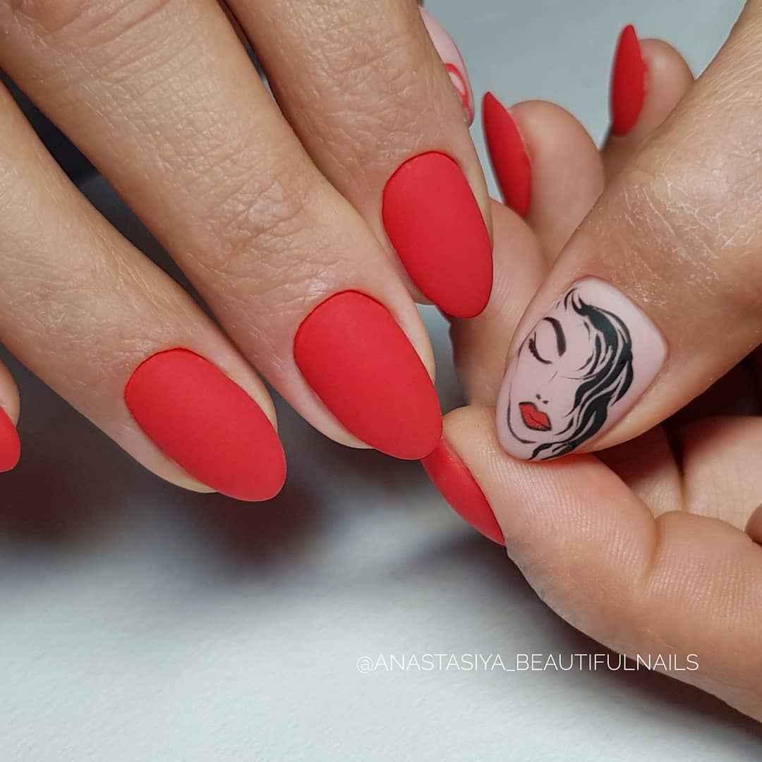 Маникюр с лицами на ногтях фото_44