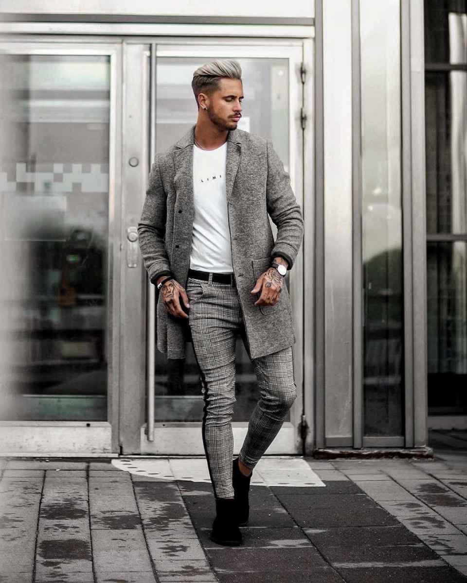С чем носить брюки в серую клетку мужчине фото_12