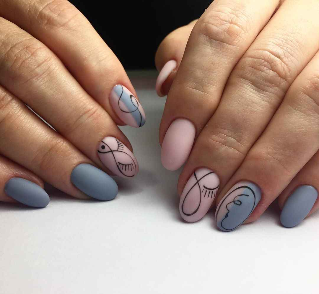 Маникюр с лицами на ногтях фото_2