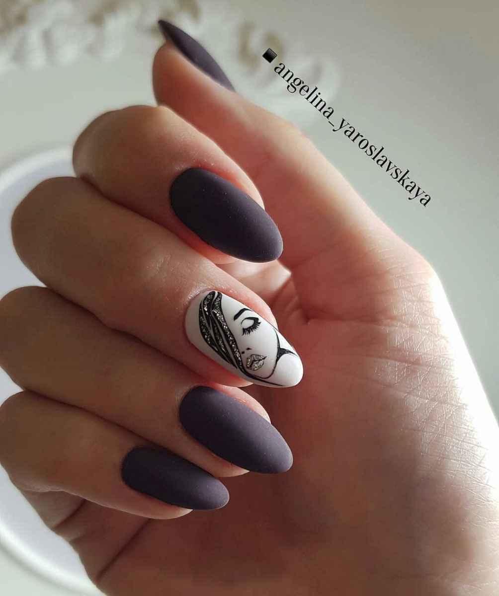 Маникюр с лицами на ногтях фото_30