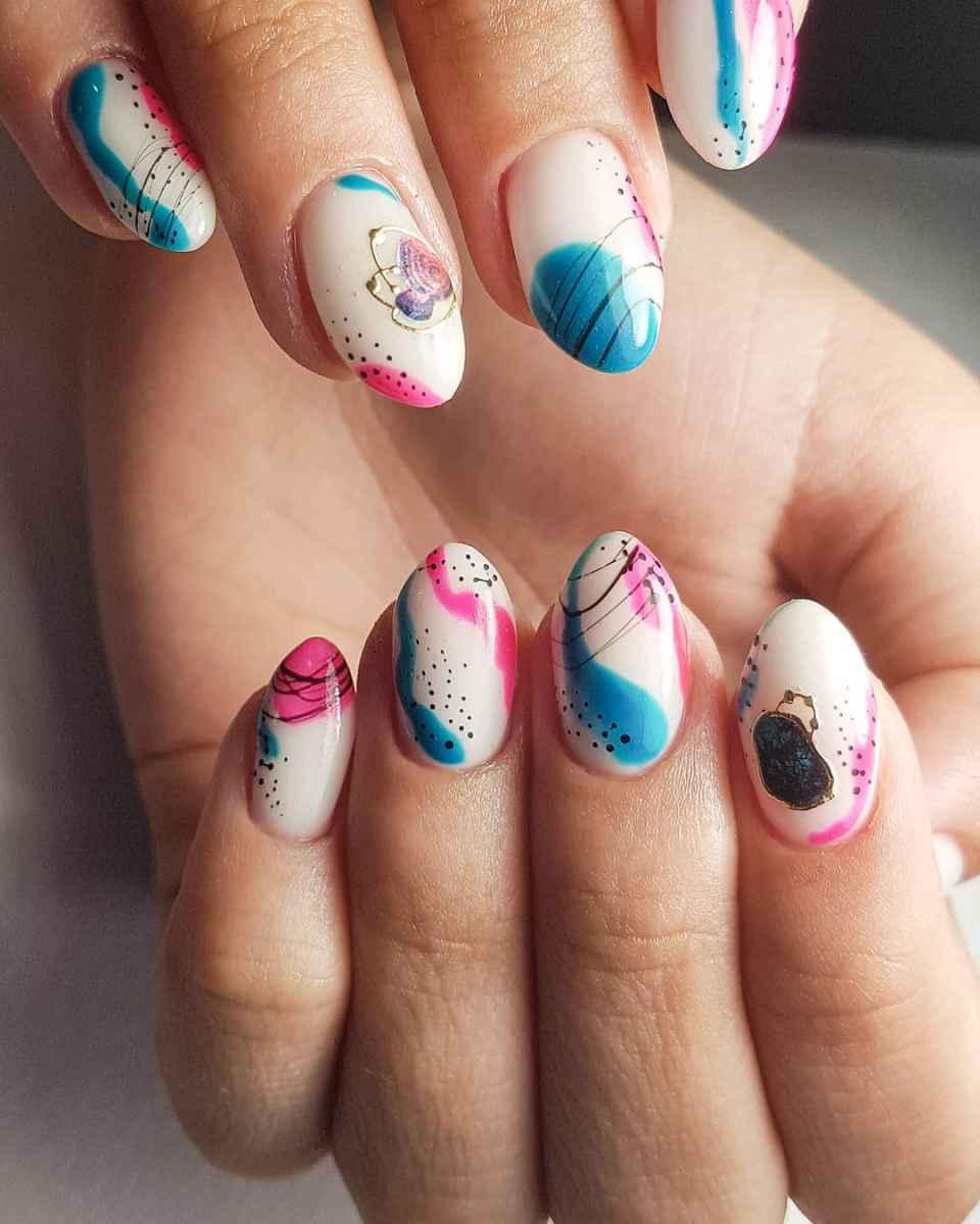 Акварельные капли на ногтях фото_5