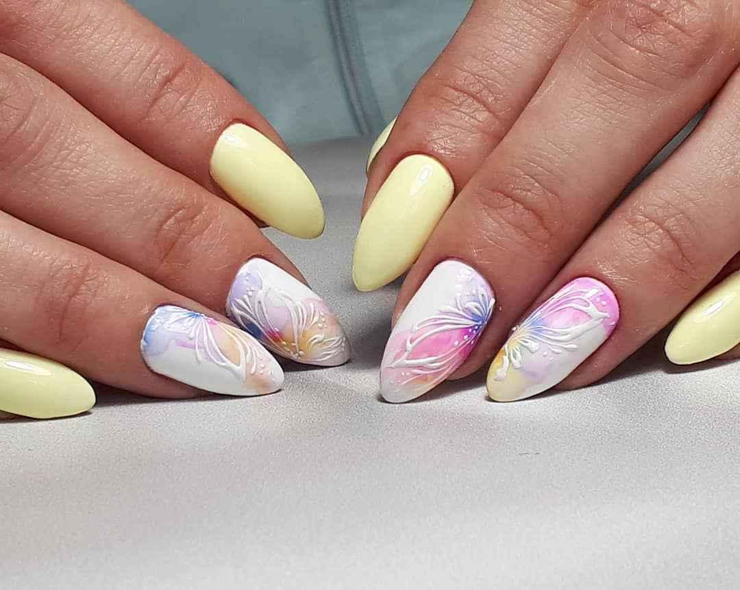 Акварельные капли на ногтях фото_38