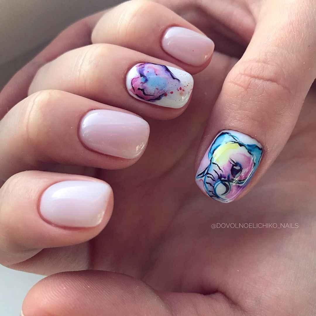Акварельные капли на ногтях фото_41