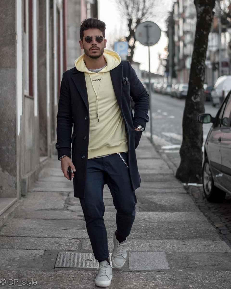 С чем носить темно-синее мужское пальто фото_10