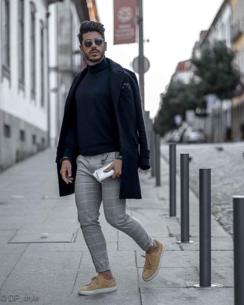 С чем носить темно-синее мужское пальто фото_9