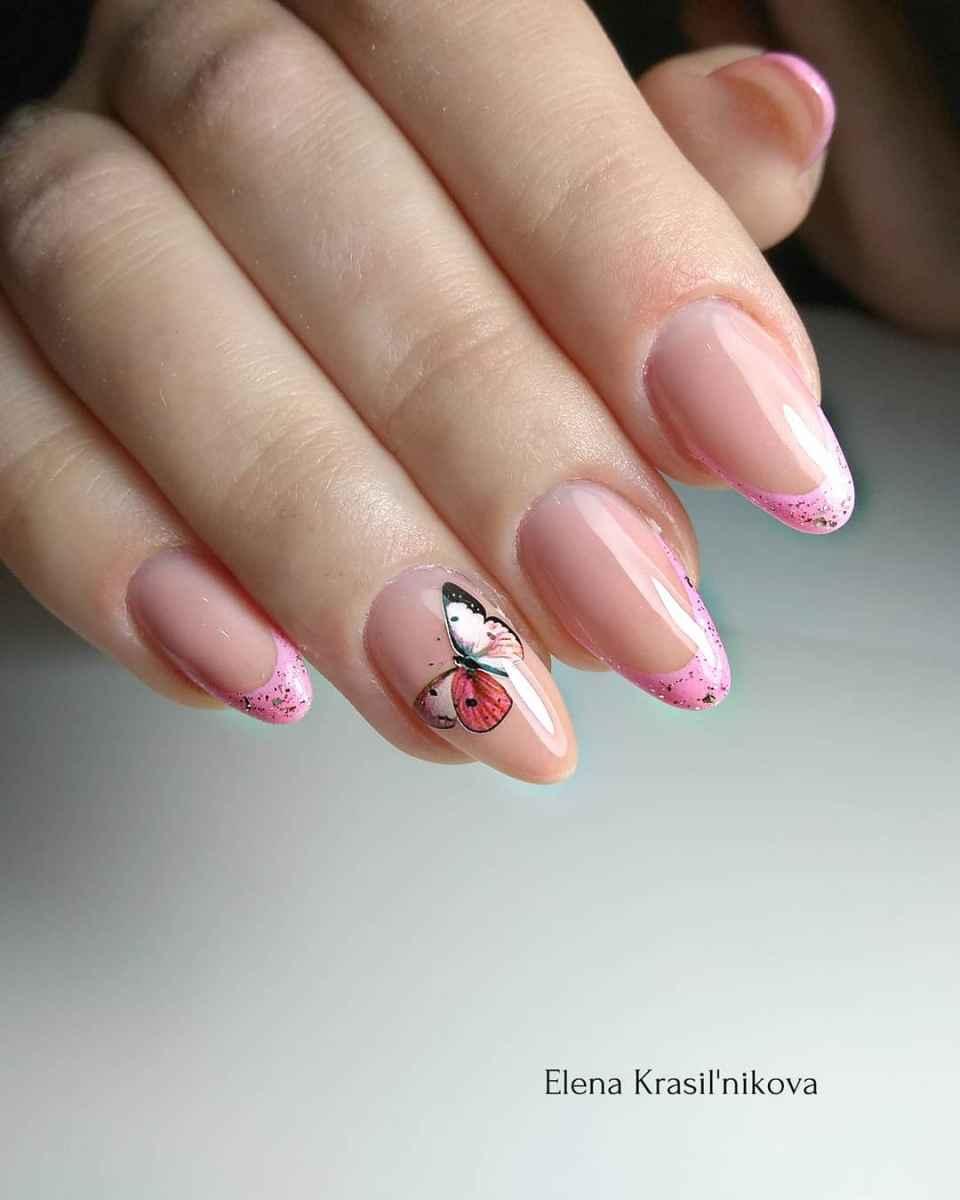 Красивый розовый френч с рисунком фото_7