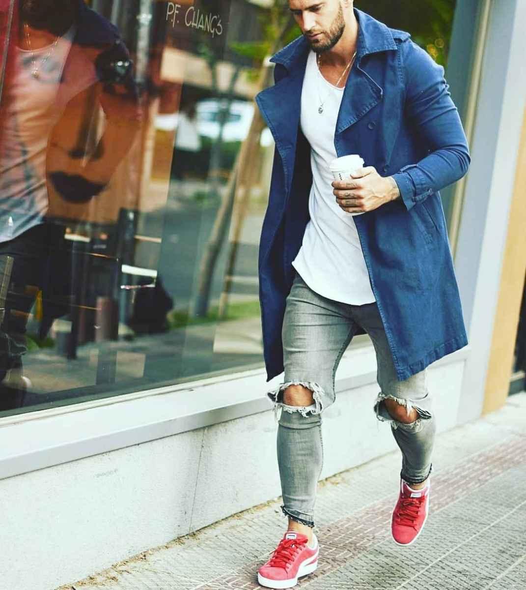С чем носить темно-синее мужское пальто фото_6
