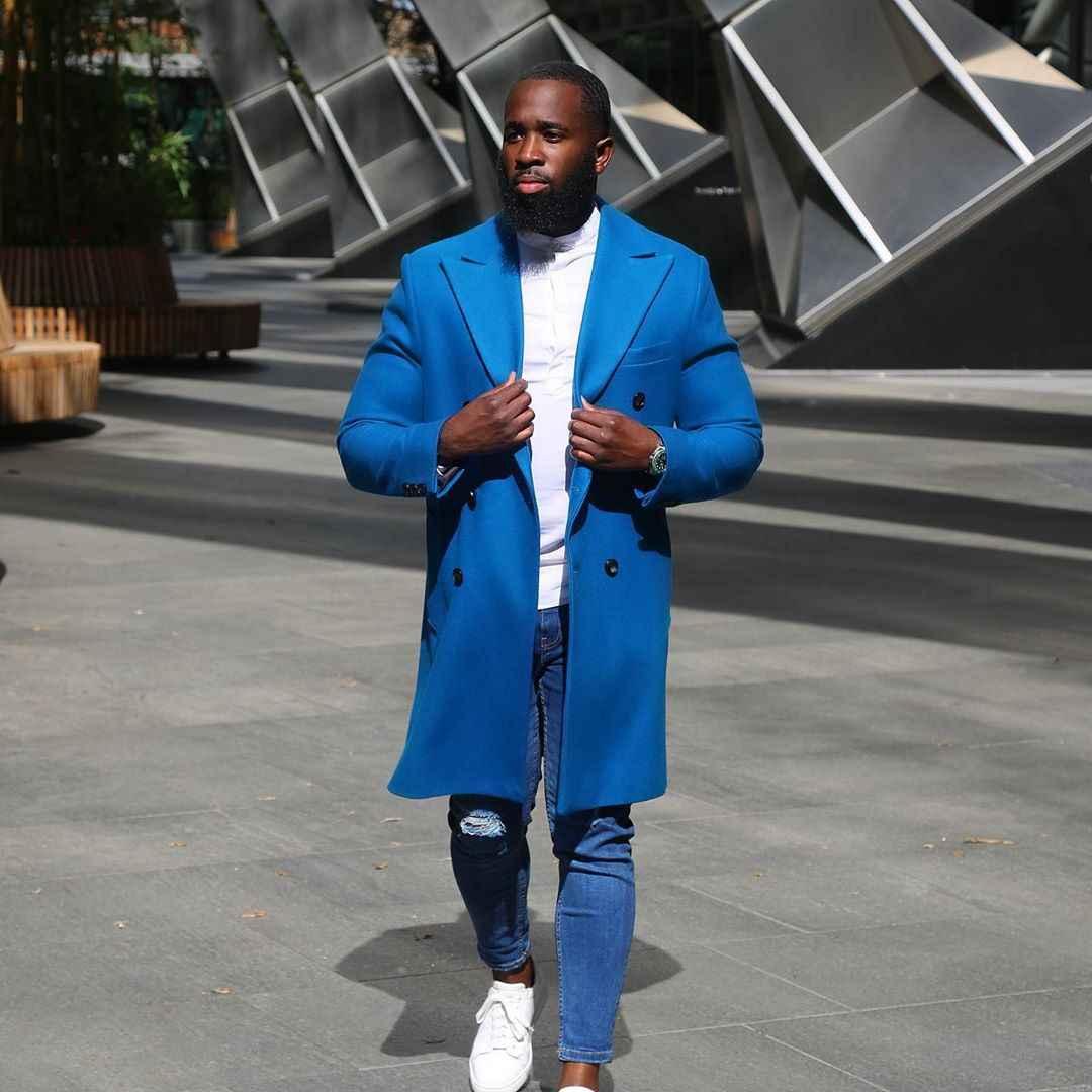 С чем носить темно-синее мужское пальто фото_2