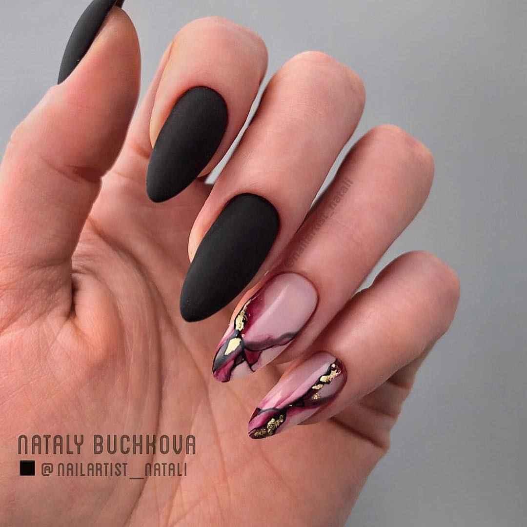 Акварельные капли на ногтях фото_36