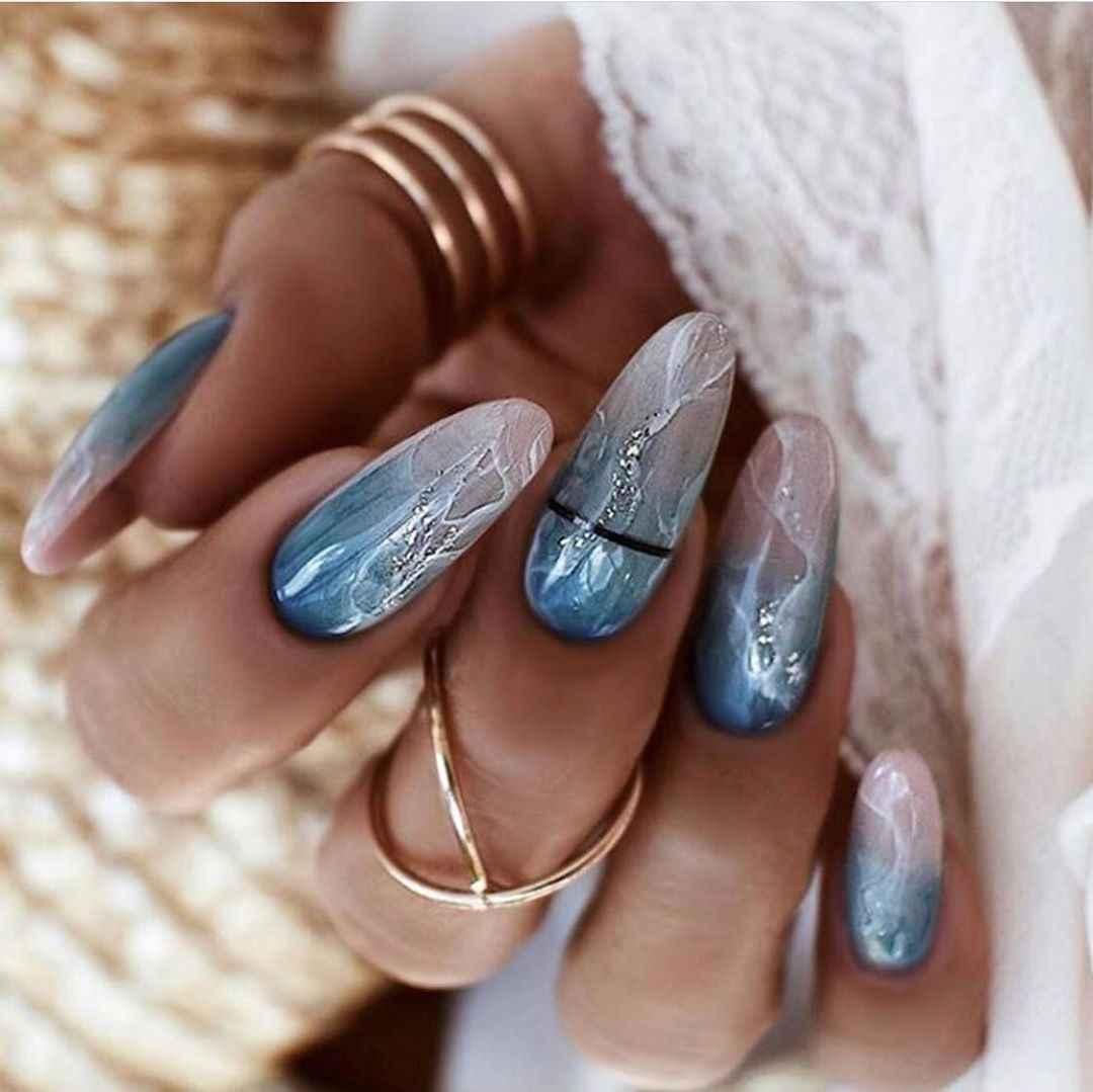 Акварельные капли на ногтях фото_32