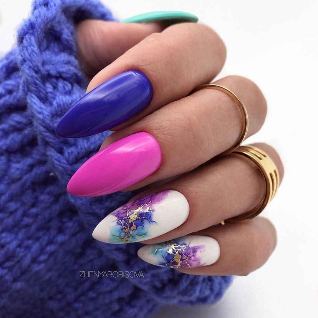 Акварельные капли на ногтях фото_31
