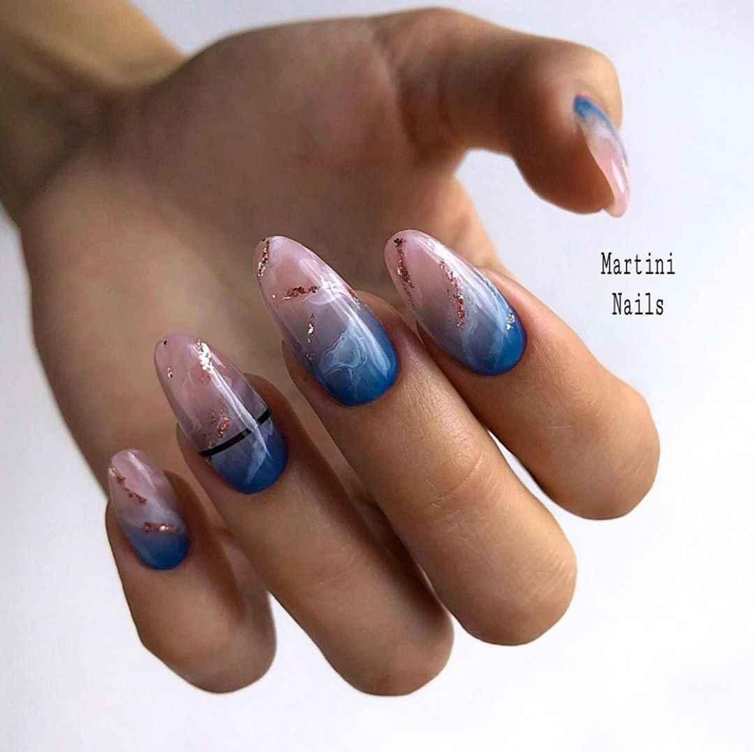 Акварельные капли на ногтях фото_28