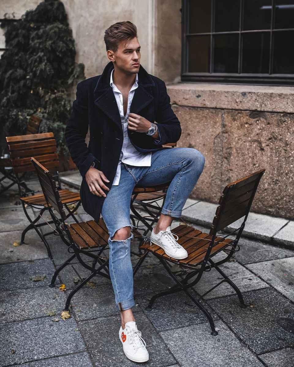 С чем носить темно-синее мужское пальто фото_17