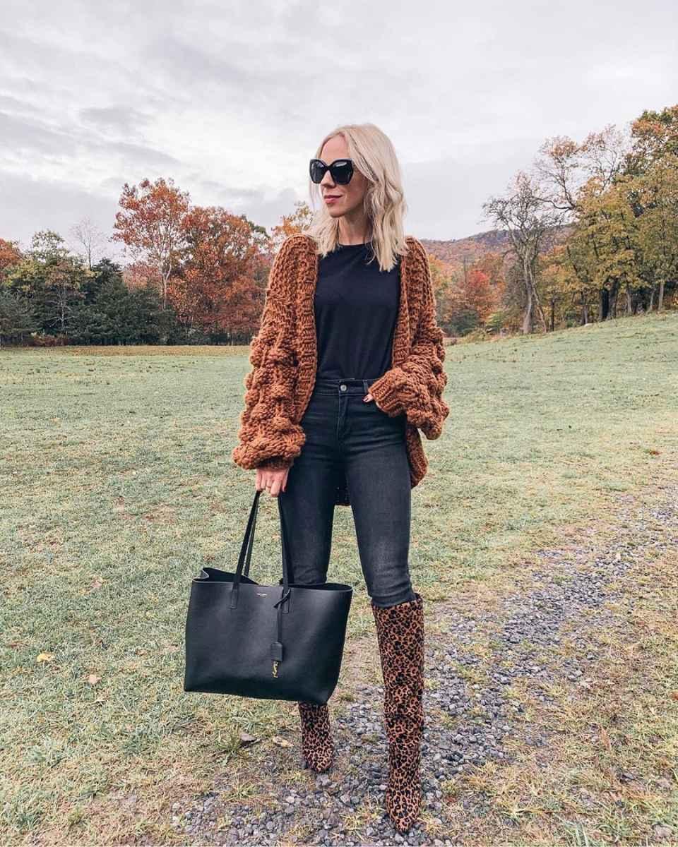С чем носить леопардовые сапоги фото_1