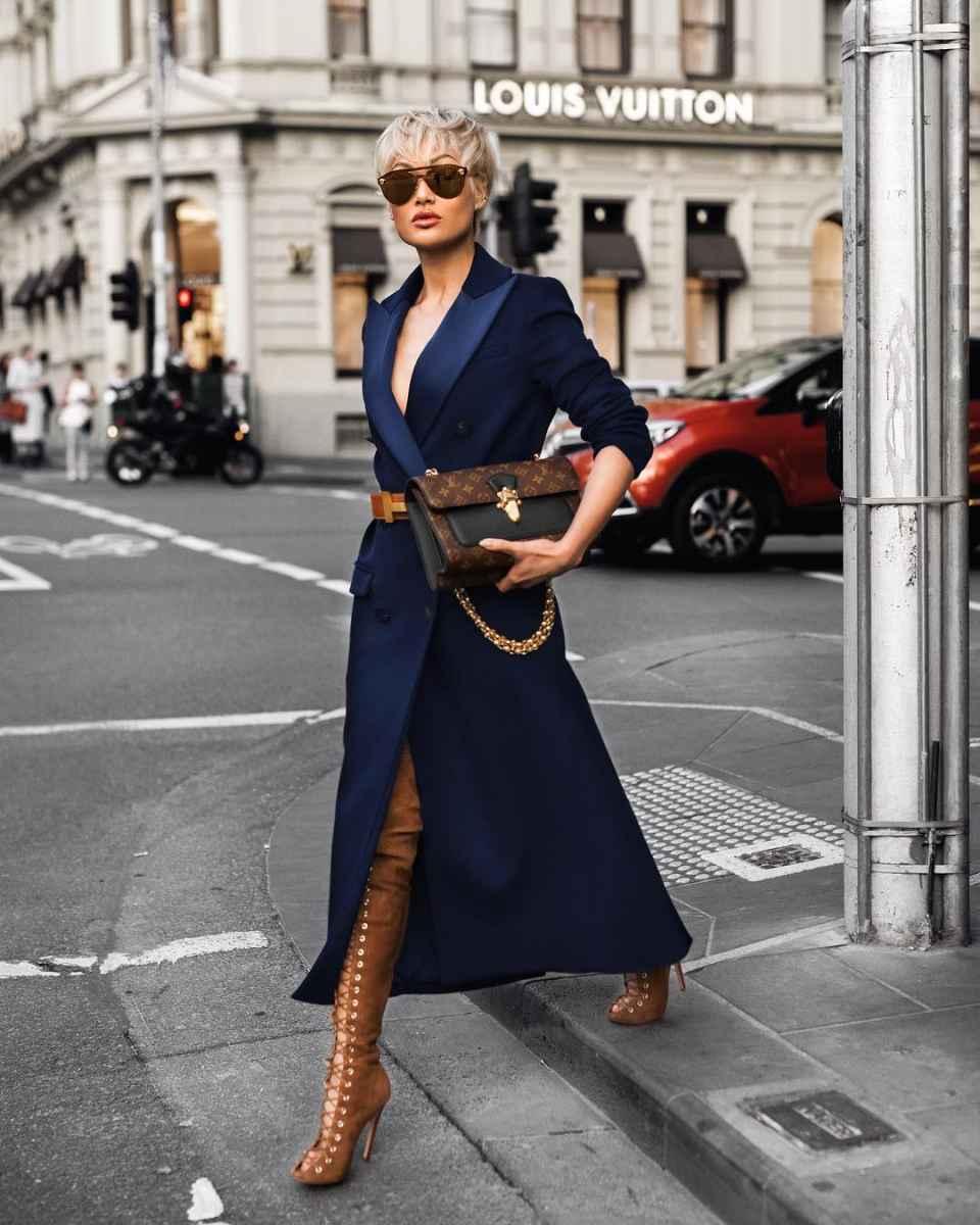 с чем носить темно-синее пальто фото_2