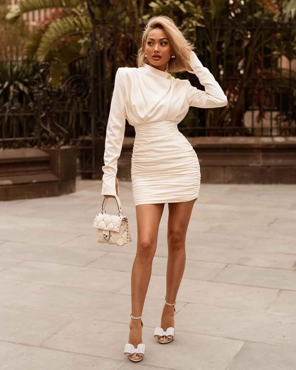 Красивые белые новогодние платья 2020 фото_10