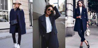 С чем носить темно-синее пальто фото идеи